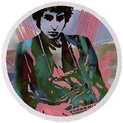 Bob Dylan Modern Etching Art Poster Round Beach Towel by Kim Wang