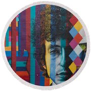 Bob Dylan Mural Minneapolis The Times They Are A Changin Round Beach Towel