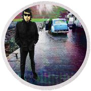 Bob Dylan No Direction Home 1 Round Beach Towel by Tony Rubino