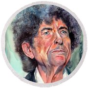 Bob Dylan Watercolor Portrait  Round Beach Towel