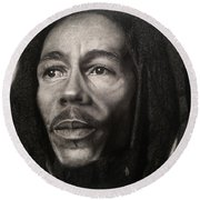Bob Marley Drawing Round Beach Towel