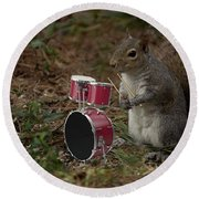 Bob The Drummer Round Beach Towel