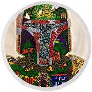 Boba Fett Star Wars Afrofuturist Collection Round Beach Towel