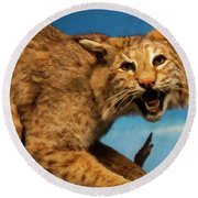 Round Beach Towel featuring the digital art Bobcat On A Branch by Chris Flees