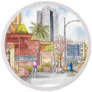 Bob's Coffee Shop In Riverside Dr., Burbank, California Round Beach Towel by Carlos G Groppa