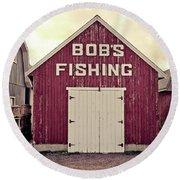 Bob's Fishing North Rustico Round Beach Towel by Edward Fielding