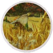 Round Beach Towel featuring the digital art Bobwhite In Flight by Chris Flees