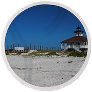 Round Beach Towel featuring the photograph Boca Grande Lighthouse Ix by Michiale Schneider