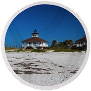 Round Beach Towel featuring the photograph Boca Grande Lighthouse X by Michiale Schneider