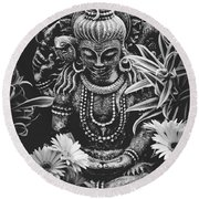 Round Beach Towel featuring the photograph Bodhisattva Parametric by Sharon Mau