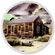 Round Beach Towel featuring the photograph Bodie House by Jim and Emily Bush