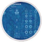 Bodie Island Lighthouse Blueprint Round Beach Towel