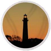Bodie Light At Sunset Round Beach Towel