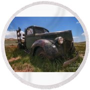 Round Beach Towel featuring the photograph Bodie Truck by Sharon Seaward