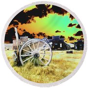 Round Beach Towel featuring the photograph Bodie Wagon by Jim and Emily Bush