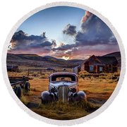 Bodie's 1937 Chevy At Sunset Round Beach Towel