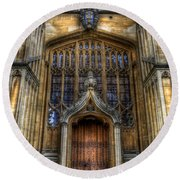 Bodleian Library Door - Oxford Round Beach Towel