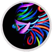 Body Art Breast Round Beach Towel
