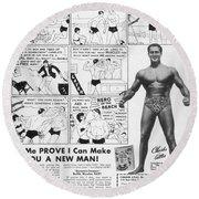 Body-building Ad, 1962 Round Beach Towel