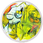 Round Beach Towel featuring the drawing Body Language by Helen Syron