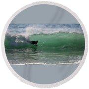 Body Surfer Round Beach Towel