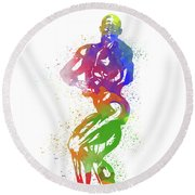 Bodybuilder Watercolor 2 Round Beach Towel