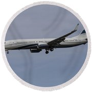 Boeing 737 Private Jet Round Beach Towel