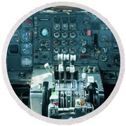 Boeing 747 Cockpit 23 Round Beach Towel