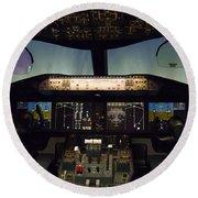 Boeing 787 Dreamliner Cockpit Round Beach Towel