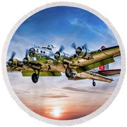 Round Beach Towel featuring the photograph Boeing B17g Flying Fortress Yankee Lady by Chris Lord