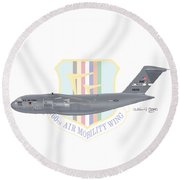 Round Beach Towel featuring the digital art Boeing C-17 Globemaster IIi Travis Afb by Arthur Eggers