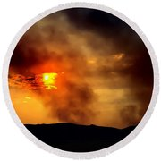 Bogart Fire Sunset Round Beach Towel by Chris Tarpening