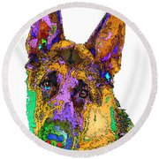 Bogart The Shepherd. Pet Series Round Beach Towel