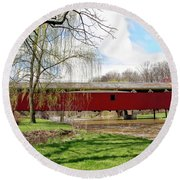 Bogert Covered Bridge Round Beach Towel