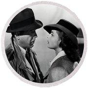 Bogey And Bergman Casablanca  1942 Round Beach Towel