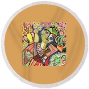 Bohemian Tea Garden Woman' Round Beach Towel