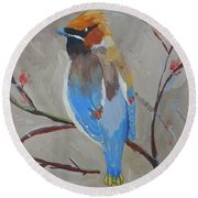 Bohemian Wax Wing Round Beach Towel