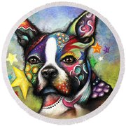 Boston Terrier Round Beach Towel by Patricia Lintner