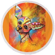 Chihuahua Round Beach Towel by Patricia Lintner