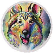 Collie Round Beach Towel by Patricia Lintner