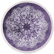 Boho Floral Mandala 2- Art By Linda Woods Round Beach Towel