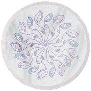 Boho Floral Mandala 3- Art By Linda Woods Round Beach Towel