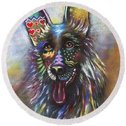 German Shepherd Round Beach Towel by Patricia Lintner
