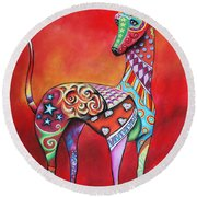 Italian Greyhound  Round Beach Towel by Patricia Lintner
