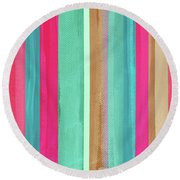 Boho Stripe- Art By Linda Woods Round Beach Towel