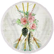 Round Beach Towel featuring the painting Boho Western Arrows N Feathers W Wood Macrame Feathers And Roses Aim High by Audrey Jeanne Roberts