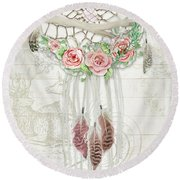 Round Beach Towel featuring the painting Boho Western Dream Catcher W Wood Macrame Feathers And Roses Dream Beautiful Dreams by Audrey Jeanne Roberts