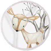 Boho Woodland Baby Nursery Deer Twine Watercolor Round Beach Towel