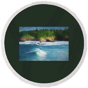 Boiler Bay Blues Round Beach Towel