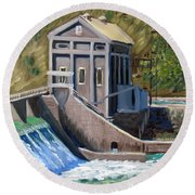 Boise Diversion Dam Round Beach Towel